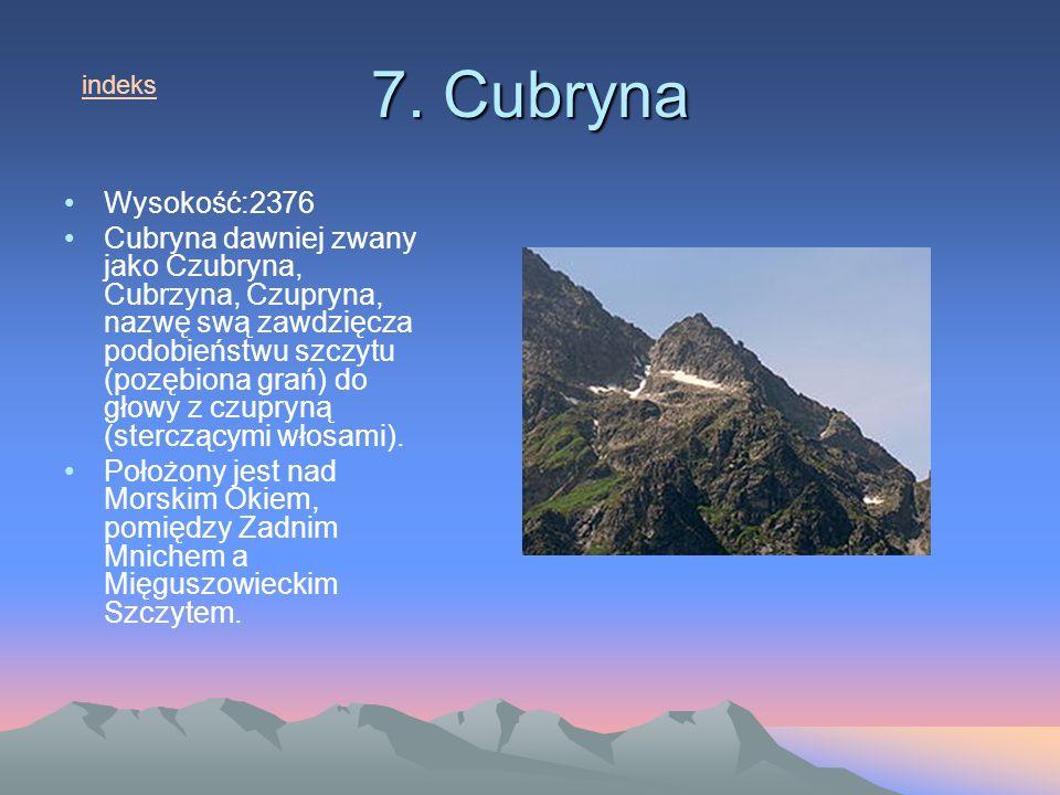7. Cubryna Wysokość:2376 Cubryna dawniej zwany jako Czubryna, Cubrzyna, Czupryna, nazwę swą zawdzięcza podobieństwu szczytu (pozębiona grań) do głowy