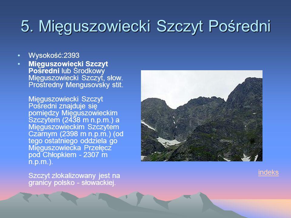5. Mięguszowiecki Szczyt Pośredni Wysokość:2393 Mięguszowiecki Szczyt Pośredni lub Środkowy Mięguszowiecki Szczyt, słow. Prostredny Mengusovsky stit.
