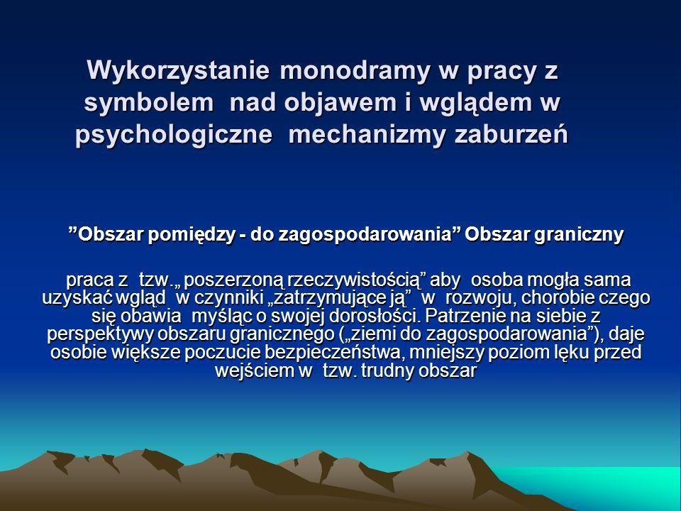 Wykorzystanie monodramy w pracy z symbolem nad objawem i wglądem w psychologiczne mechanizmy zaburzeń Obszar pomiędzy - do zagospodarowania Obszar graniczny praca z tzw.