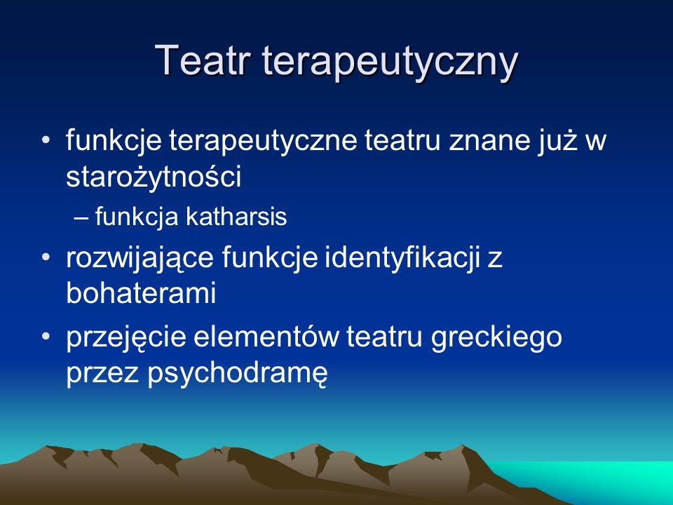 Teatr terapeutyczny funkcje terapeutyczne teatru znane już w starożytności –funkcja katharsis rozwijające funkcje identyfikacji z bohaterami przejęcie elementów teatru greckiego przez psychodramę
