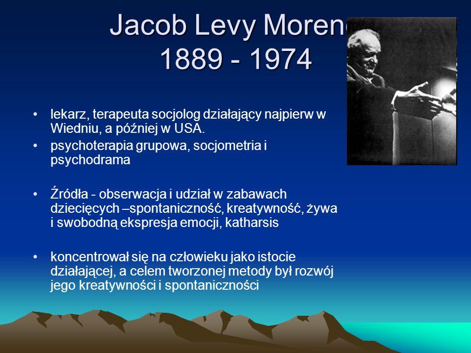 Jacob Levy Moreno 1889 - 1974 lekarz, terapeuta socjolog działający najpierw w Wiedniu, a później w USA. psychoterapia grupowa, socjometria i psychodr