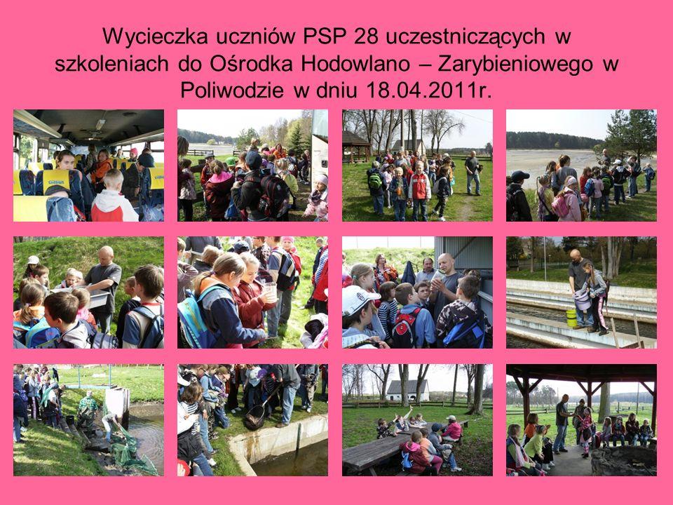 Wycieczka uczniów PSP 28 uczestniczących w szkoleniach do Ośrodka Hodowlano – Zarybieniowego w Poliwodzie w dniu 18.04.2011r.