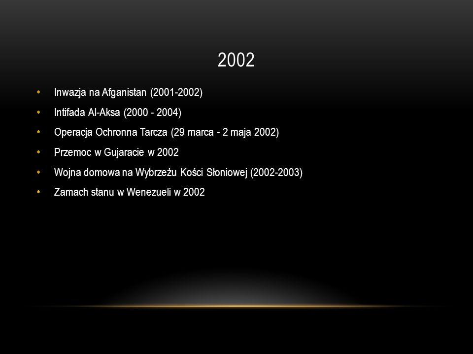 2002 Inwazja na Afganistan (2001-2002) Intifada Al-Aksa (2000 - 2004) Operacja Ochronna Tarcza (29 marca - 2 maja 2002) Przemoc w Gujaracie w 2002 Woj