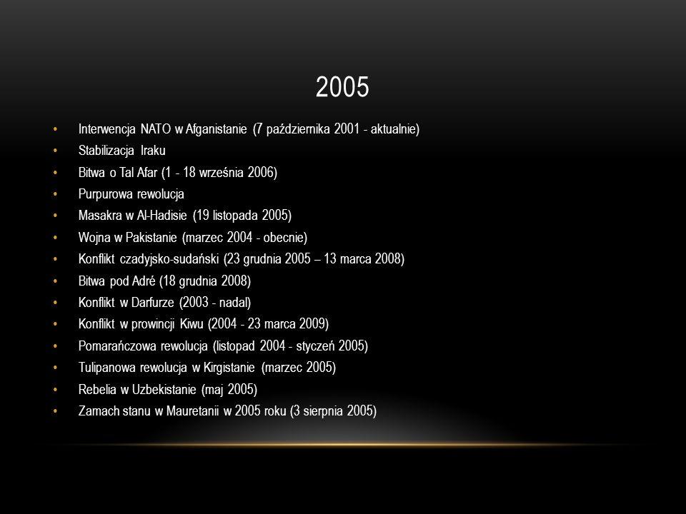 2005 Interwencja NATO w Afganistanie (7 października 2001 - aktualnie) Stabilizacja Iraku Bitwa o Tal Afar (1 - 18 września 2006) Purpurowa rewolucja