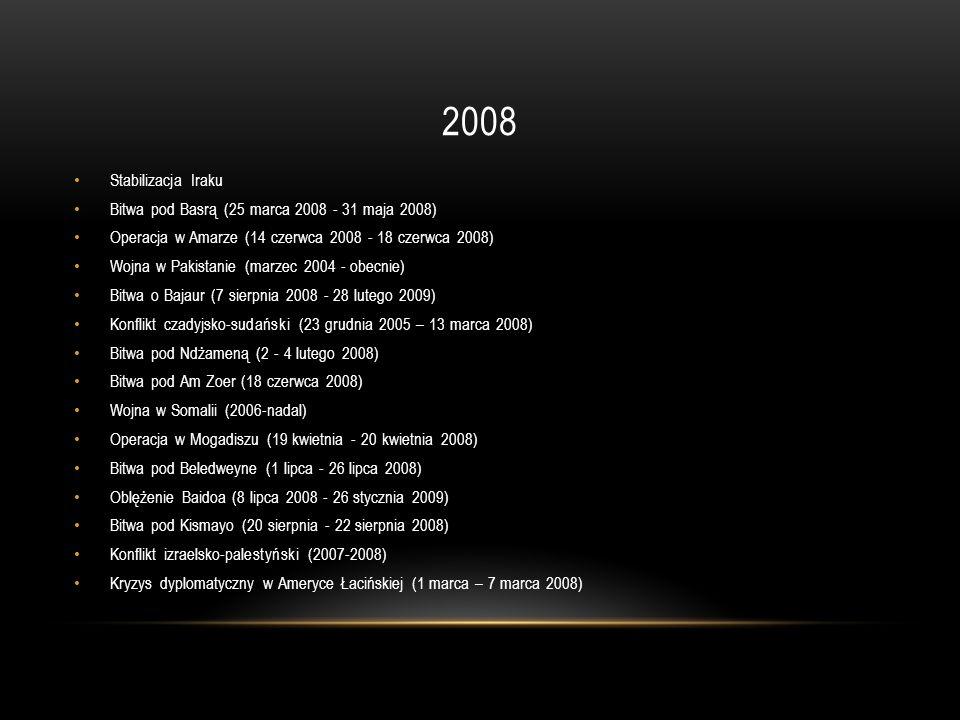 2008 Stabilizacja Iraku Bitwa pod Basrą (25 marca 2008 - 31 maja 2008) Operacja w Amarze (14 czerwca 2008 - 18 czerwca 2008) Wojna w Pakistanie (marze