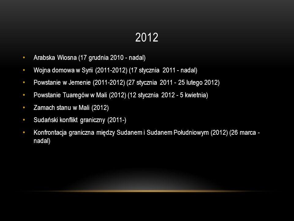 2012 Arabska Wiosna (17 grudnia 2010 - nadal) Wojna domowa w Syrii (2011-2012) (17 stycznia 2011 - nadal) Powstanie w Jemenie (2011-2012) (27 stycznia