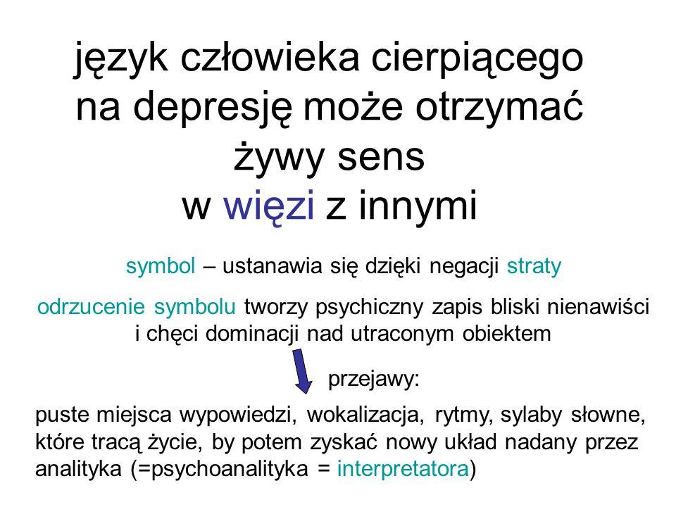 język człowieka cierpiącego na depresję może otrzymać żywy sens w więzi z innymi symbol – ustanawia się dzięki negacji straty odrzucenie symbolu tworzy psychiczny zapis bliski nienawiści i chęci dominacji nad utraconym obiektem puste miejsca wypowiedzi, wokalizacja, rytmy, sylaby słowne, które tracą życie, by potem zyskać nowy układ nadany przez analityka (=psychoanalityka = interpretatora) przejawy: