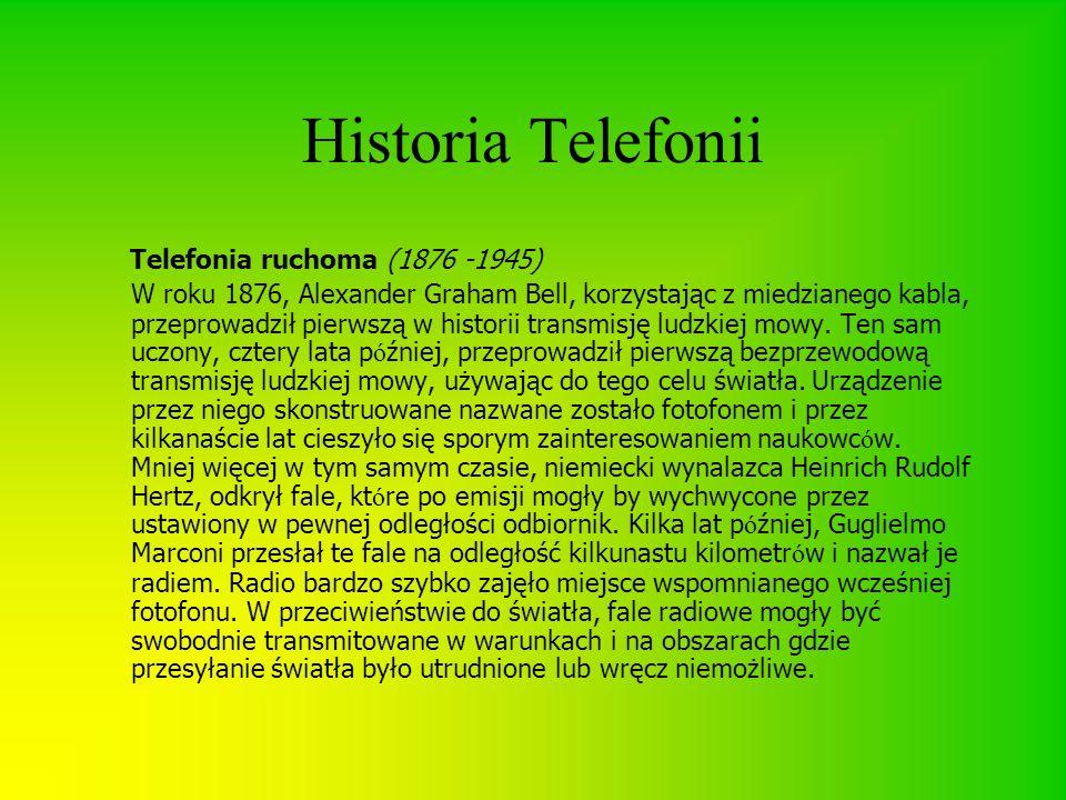 Historia Telefonii Telefonia ruchoma (1876 -1945) W roku 1876, Alexander Graham Bell, korzystając z miedzianego kabla, przeprowadził pierwszą w histor