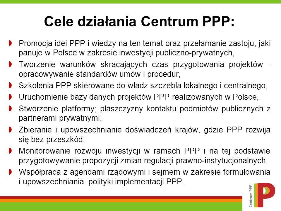 Cele działania Centrum PPP: Promocja idei PPP i wiedzy na ten temat oraz przełamanie zastoju, jaki panuje w Polsce w zakresie inwestycji publiczno-prywatnych, Tworzenie warunków skracających czas przygotowania projektów - opracowywanie standardów umów i procedur, Szkolenia PPP skierowane do władz szczebla lokalnego i centralnego, Uruchomienie bazy danych projektów PPP realizowanych w Polsce, Stworzenie platformy; płaszczyzny kontaktu podmiotów publicznych z partnerami prywatnymi, Zbieranie i upowszechnianie doświadczeń krajów, gdzie PPP rozwija się bez przeszkód, Monitorowanie rozwoju inwestycji w ramach PPP i na tej podstawie przygotowywanie propozycji zmian regulacji prawno-instytucjonalnych.