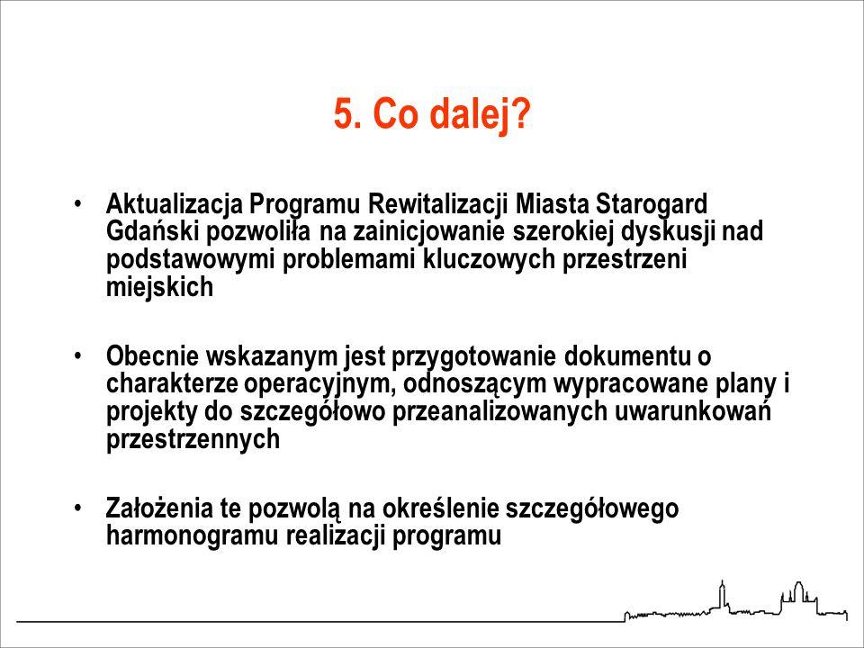5. Co dalej? Aktualizacja Programu Rewitalizacji Miasta Starogard Gdański pozwoliła na zainicjowanie szerokiej dyskusji nad podstawowymi problemami kl