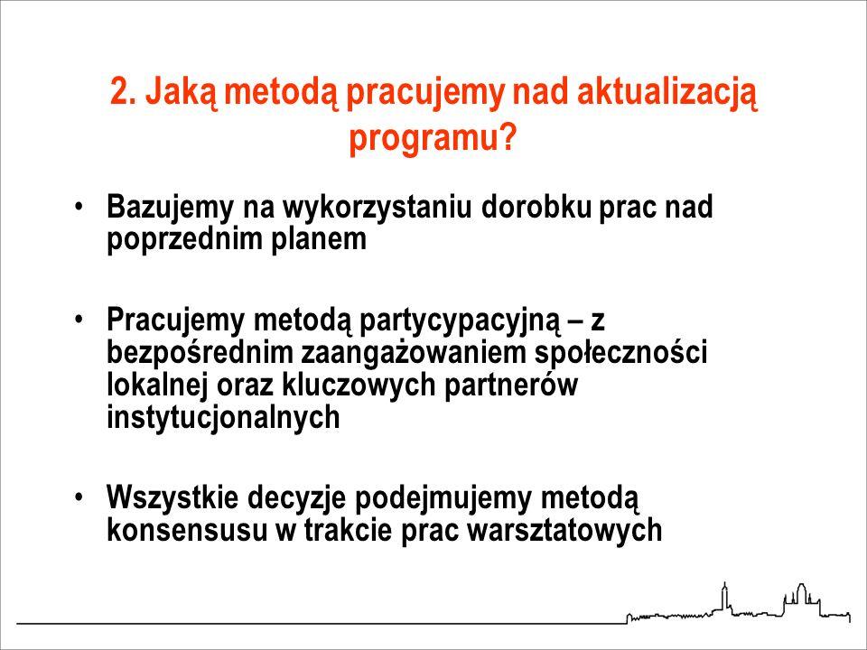 2. Jaką metodą pracujemy nad aktualizacją programu? Bazujemy na wykorzystaniu dorobku prac nad poprzednim planem Pracujemy metodą partycypacyjną – z b