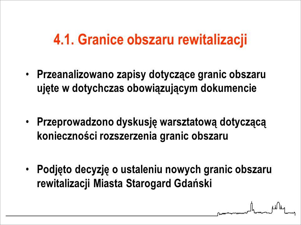 4.1. Granice obszaru rewitalizacji Przeanalizowano zapisy dotyczące granic obszaru ujęte w dotychczas obowiązującym dokumencie Przeprowadzono dyskusję