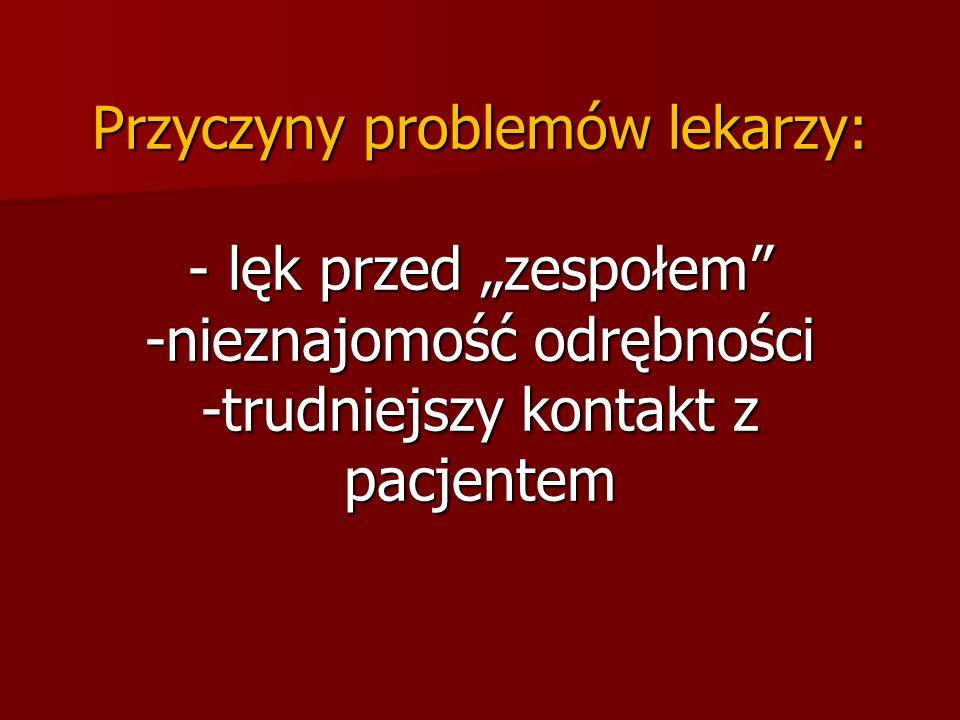 Przyczyny problemów lekarzy: - lęk przed zespołem -nieznajomość odrębności -trudniejszy kontakt z pacjentem