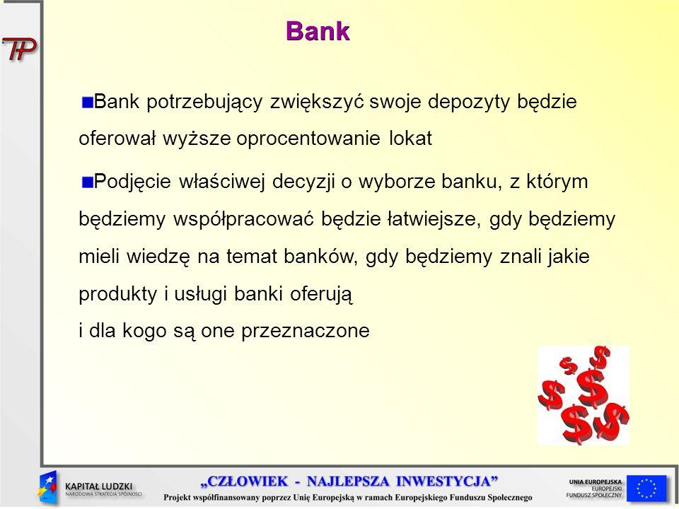 Bank potrzebujący zwiększyć swoje depozyty będzie oferował wyższe oprocentowanie lokat Podjęcie właściwej decyzji o wyborze banku, z którym będziemy w
