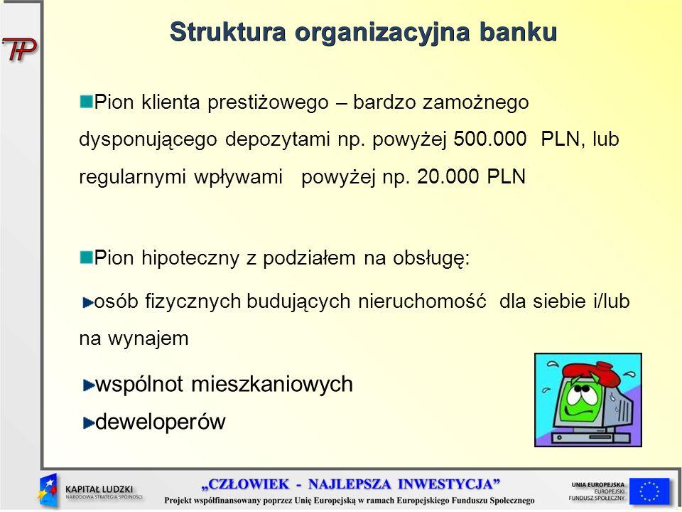 Pion klienta prestiżowego – bardzo zamożnego dysponującego depozytami np. powyżej 500.000 PLN, lub regularnymi wpływami powyżej np. 20.000 PLN Pion hi