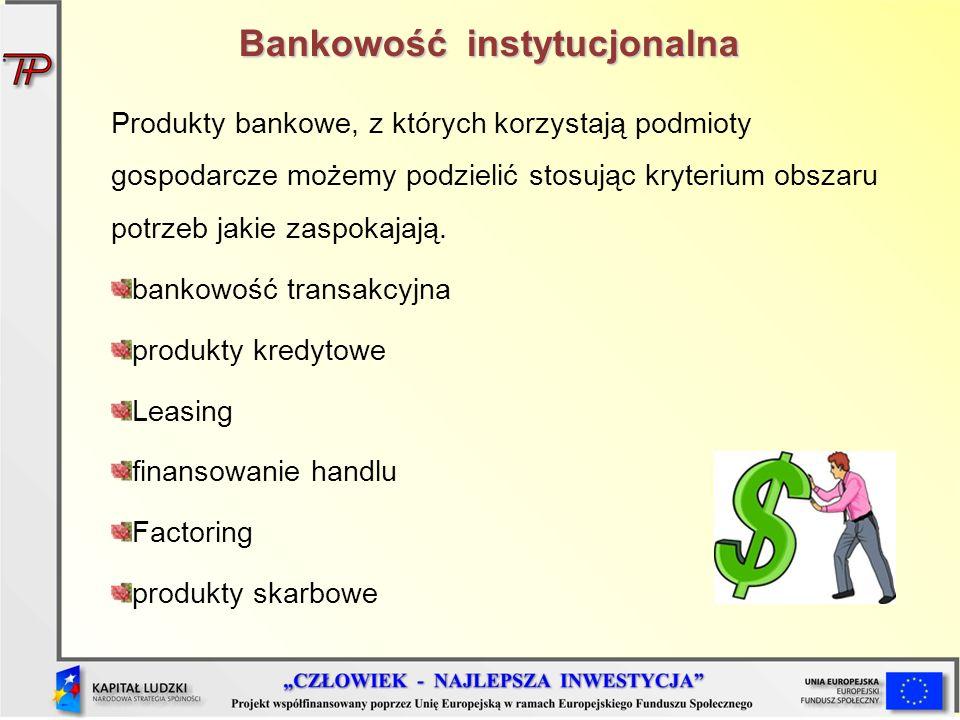 Bankowość instytucjonalna Produkty bankowe, z których korzystają podmioty gospodarcze możemy podzielić stosując kryterium obszaru potrzeb jakie zaspok