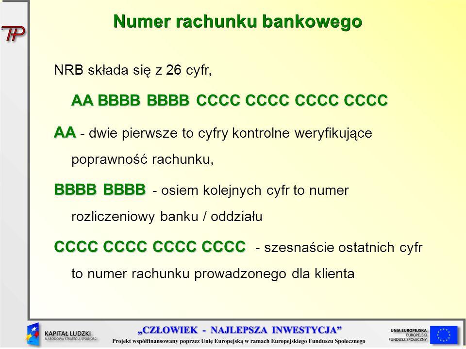 Numer rachunku bankowego NRB składa się z 26 cyfr, AA BBBB BBBB CCCC CCCC CCCC CCCC AA AA - dwie pierwsze to cyfry kontrolne weryfikujące poprawność r