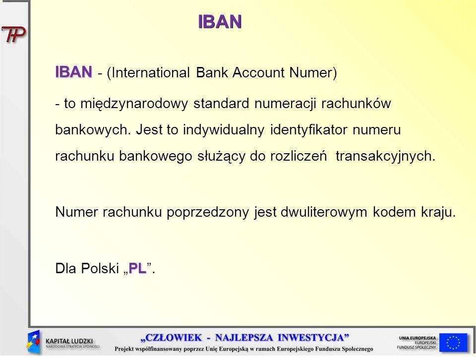 IBAN IBAN IBAN - (International Bank Account Numer) - to międzynarodowy standard numeracji rachunków bankowych. Jest to indywidualny identyfikator num