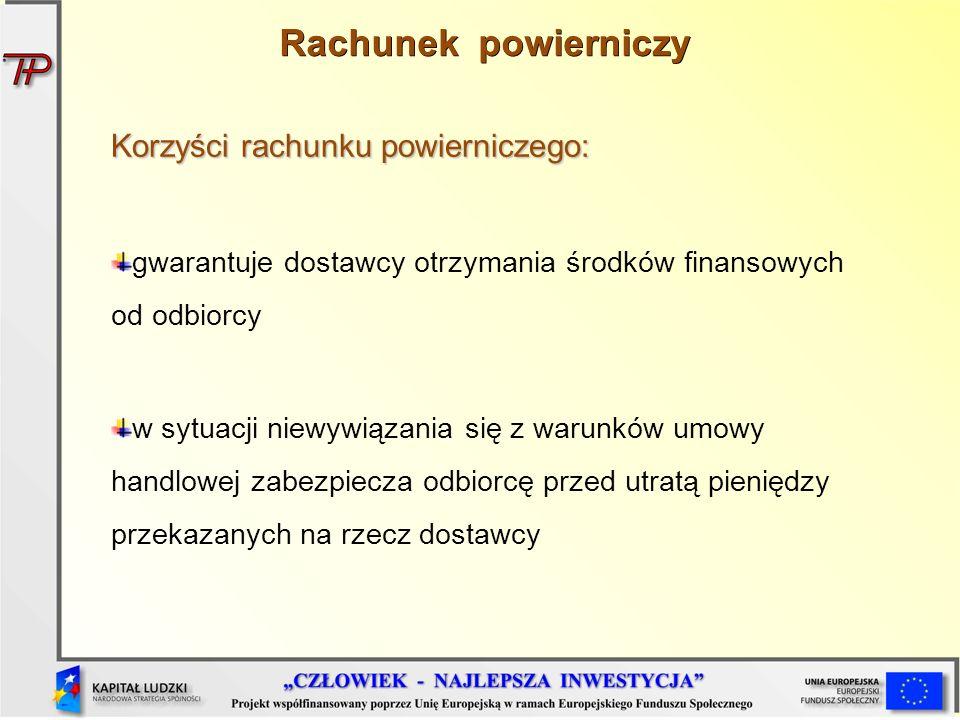 Korzyści rachunku powierniczego: gwarantuje dostawcy otrzymania środków finansowych od odbiorcy w sytuacji niewywiązania się z warunków umowy handlowe