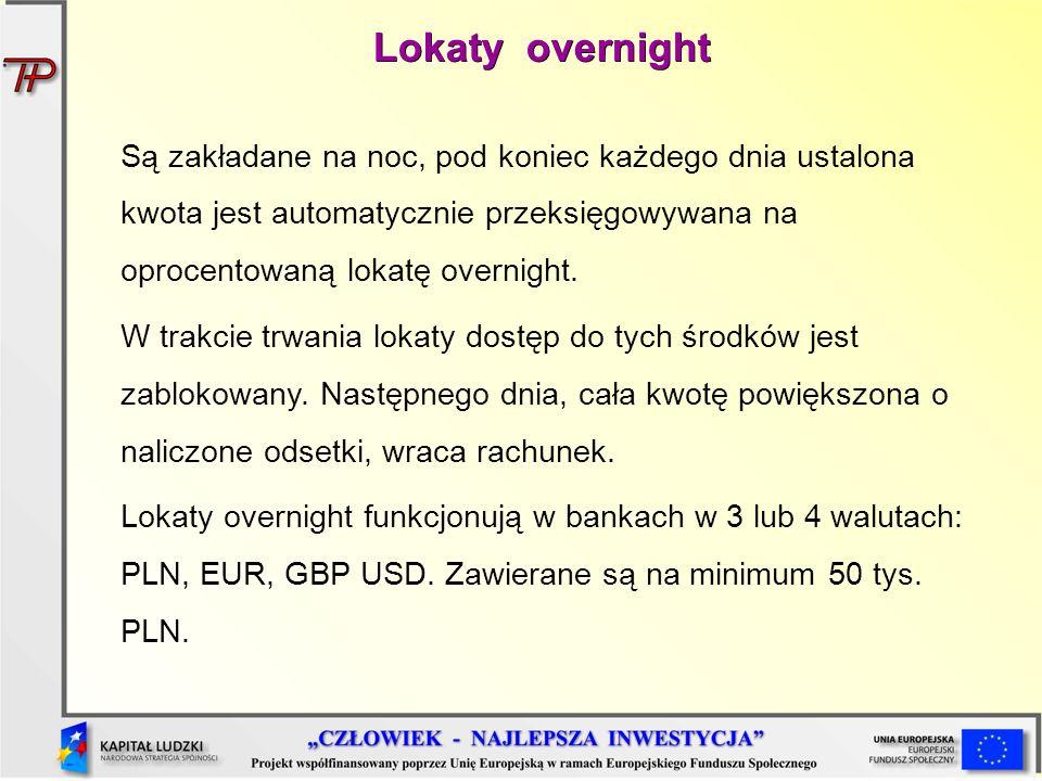 Lokaty overnight Są zakładane na noc, pod koniec każdego dnia ustalona kwota jest automatycznie przeksięgowywana na oprocentowaną lokatę overnight. W