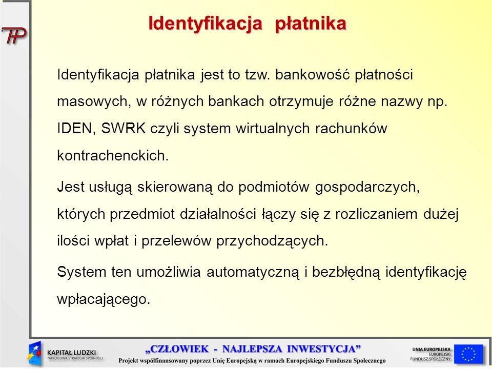 Identyfikacja płatnika Identyfikacja płatnika jest to tzw. bankowość płatności masowych, w różnych bankach otrzymuje różne nazwy np. IDEN, SWRK czyli