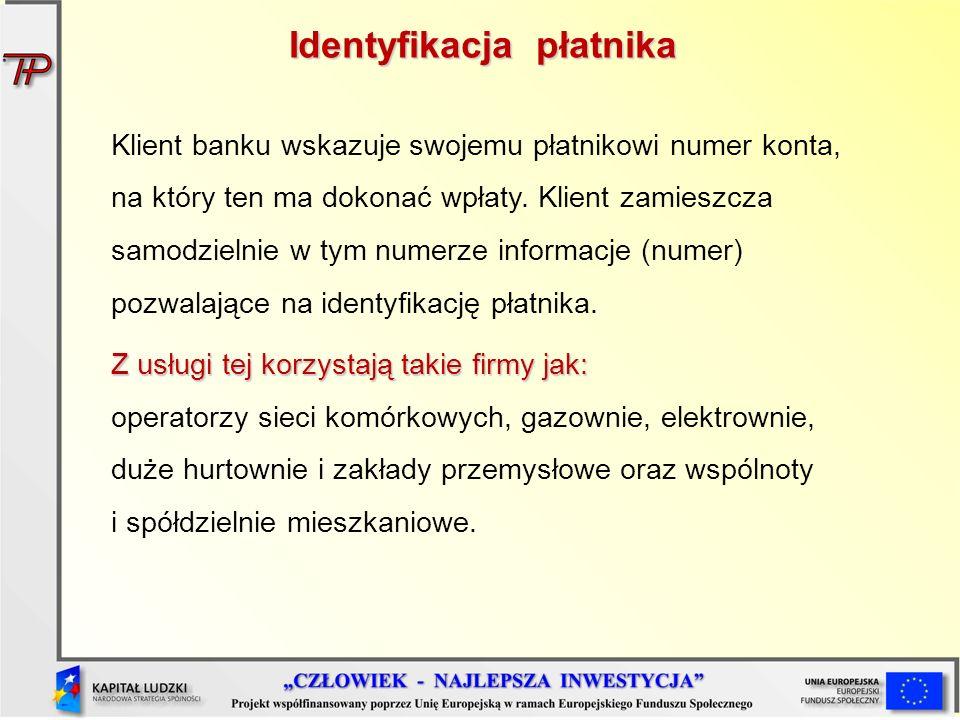 Klient banku wskazuje swojemu płatnikowi numer konta, na który ten ma dokonać wpłaty. Klient zamieszcza samodzielnie w tym numerze informacje (numer)
