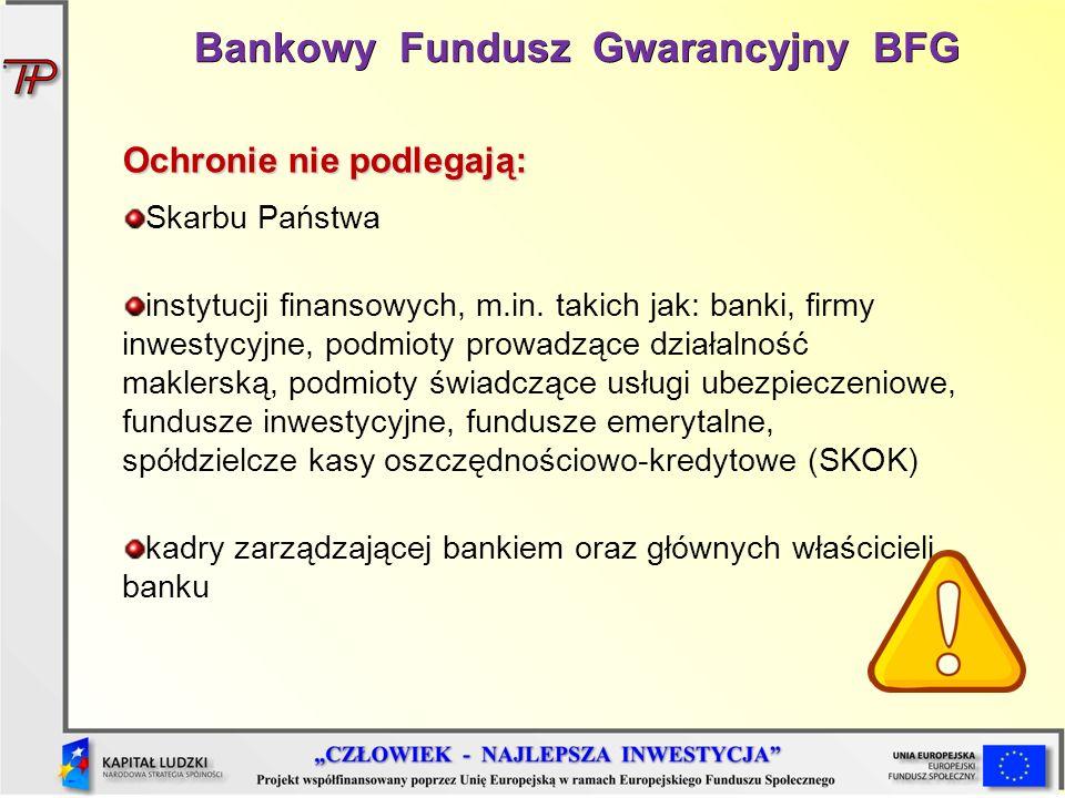 Ochronie nie podlegają: Skarbu Państwa instytucji finansowych, m.in. takich jak: banki, firmy inwestycyjne, podmioty prowadzące działalność maklerską,