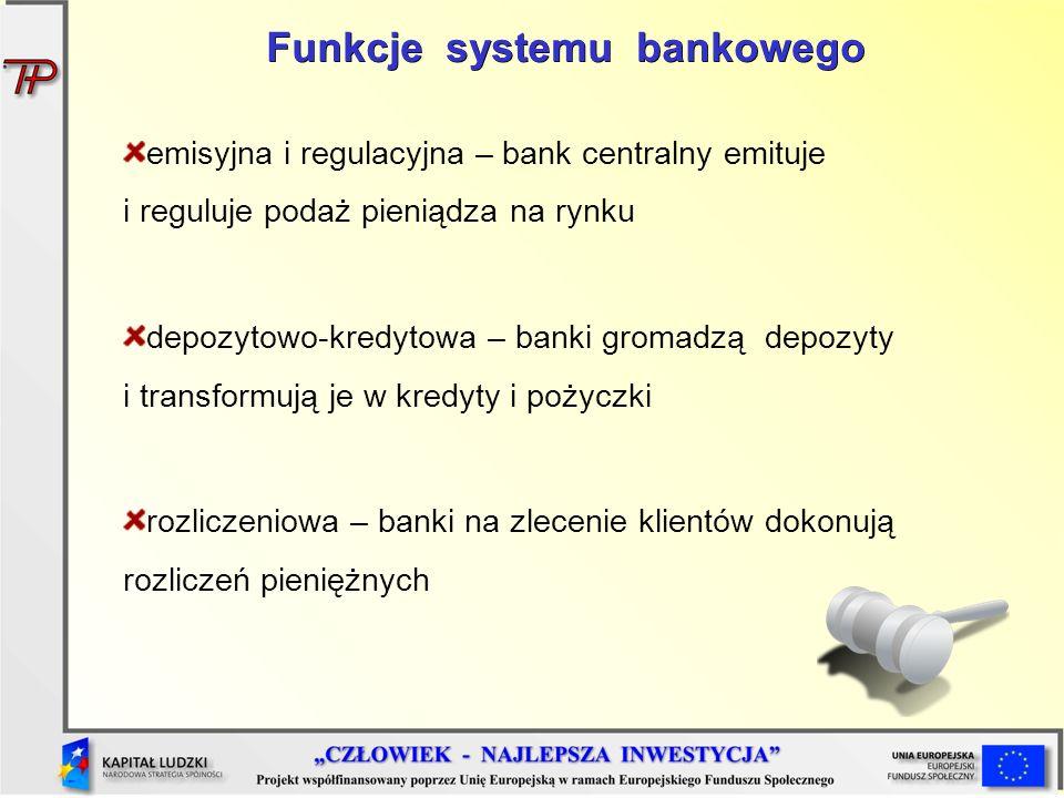 Funkcje systemu bankowego emisyjna i regulacyjna – bank centralny emituje i reguluje podaż pieniądza na rynku depozytowo-kredytowa – banki gromadzą de