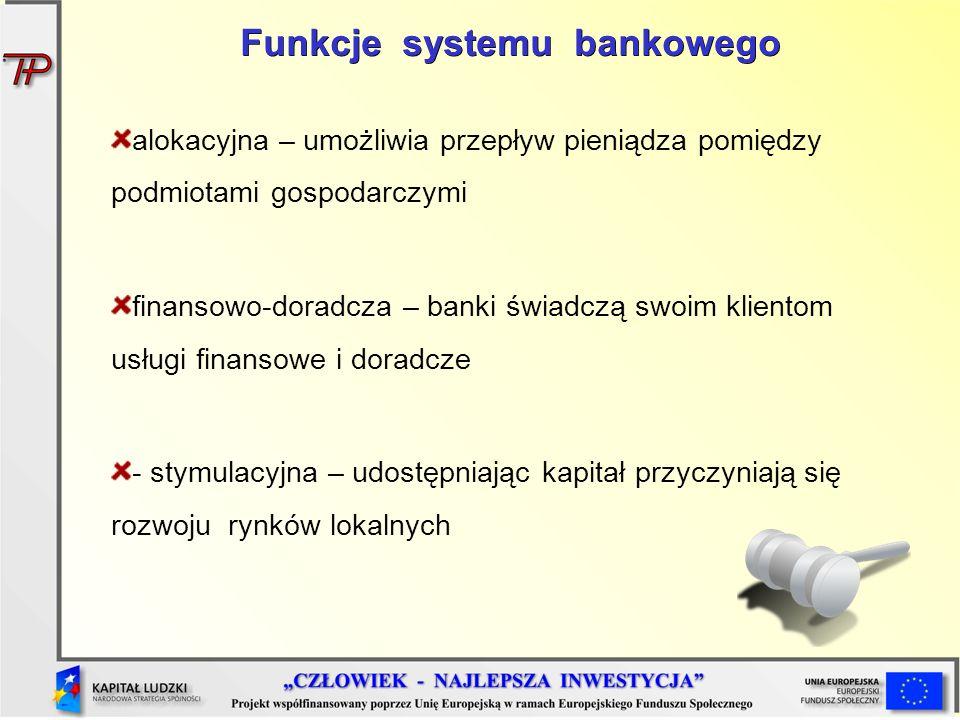 alokacyjna – umożliwia przepływ pieniądza pomiędzy podmiotami gospodarczymi finansowo-doradcza – banki świadczą swoim klientom usługi finansowe i dora