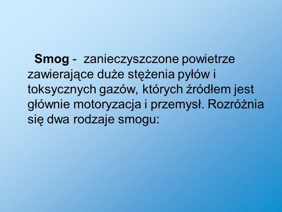 Smog - zanieczyszczone powietrze zawierające duże stężenia pyłów i toksycznych gazów, których źródłem jest głównie motoryzacja i przemysł. Rozróżnia s