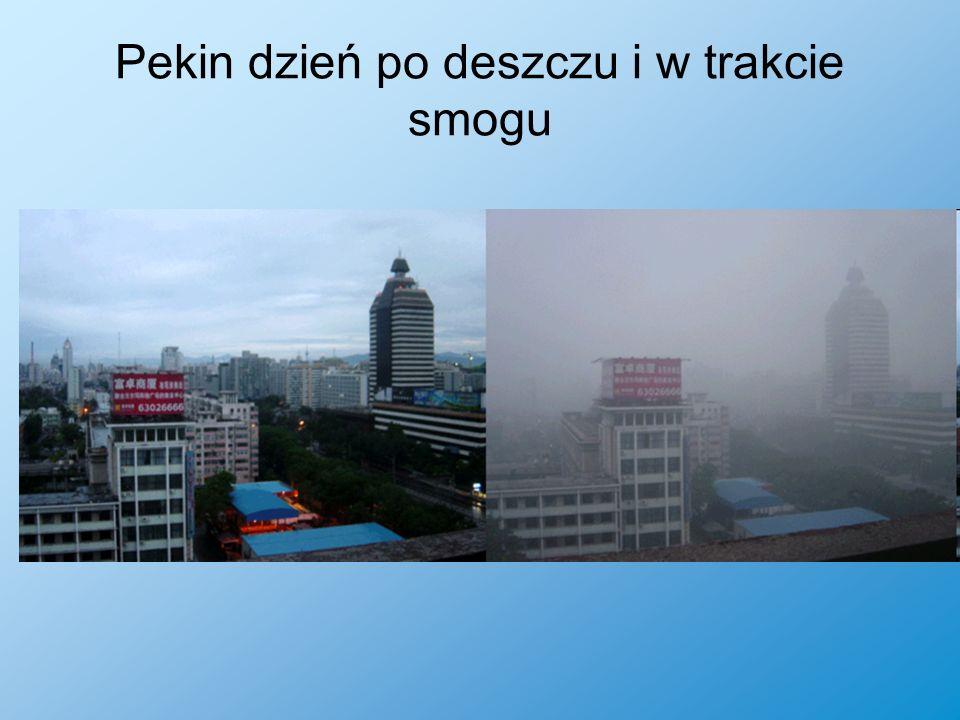 Pekin dzień po deszczu i w trakcie smogu