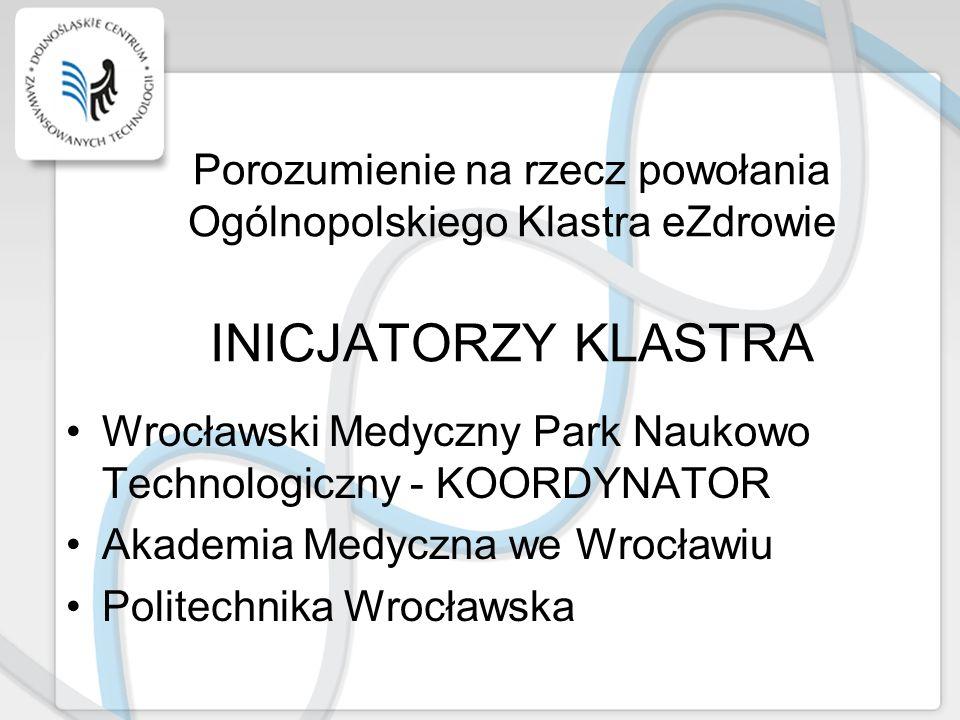 Porozumienie na rzecz powołania Ogólnopolskiego Klastra eZdrowie INICJATORZY KLASTRA Wrocławski Medyczny Park Naukowo Technologiczny - KOORDYNATOR Aka
