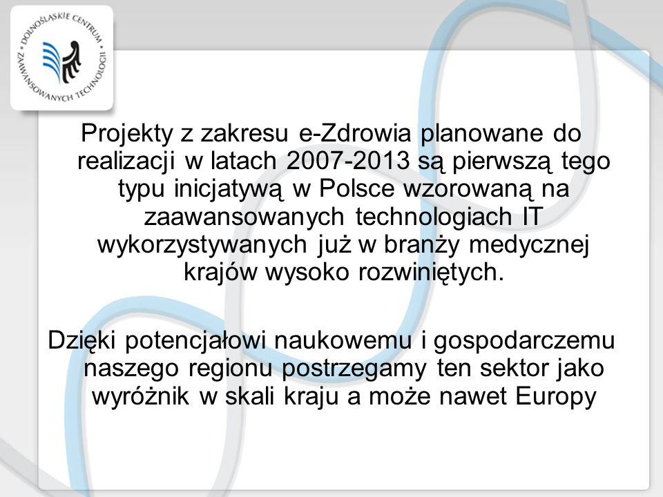 Projekty z zakresu e-Zdrowia planowane do realizacji w latach 2007-2013 są pierwszą tego typu inicjatywą w Polsce wzorowaną na zaawansowanych technolo