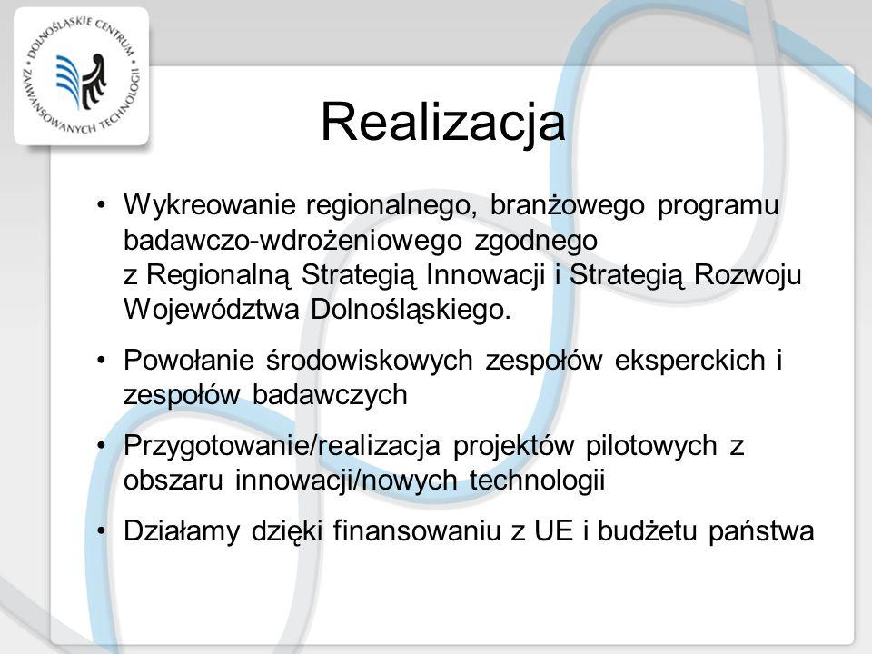 Realizacja Wykreowanie regionalnego, branżowego programu badawczo-wdrożeniowego zgodnego z Regionalną Strategią Innowacji i Strategią Rozwoju Wojewódz
