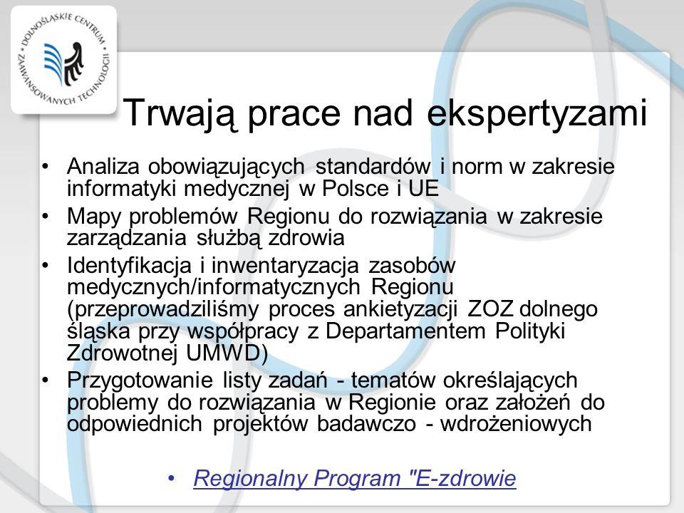 Trwają prace nad ekspertyzami Analiza obowiązujących standardów i norm w zakresie informatyki medycznej w Polsce i UE Mapy problemów Regionu do rozwią
