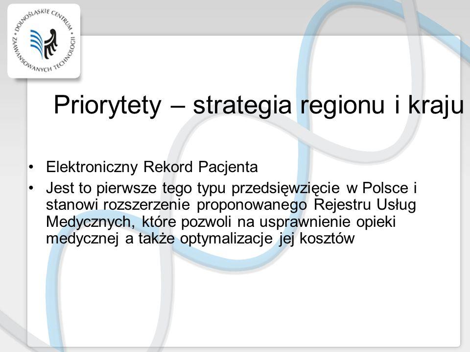 Priorytety – strategia regionu i kraju Elektroniczny Rekord Pacjenta Jest to pierwsze tego typu przedsięwzięcie w Polsce i stanowi rozszerzenie propon