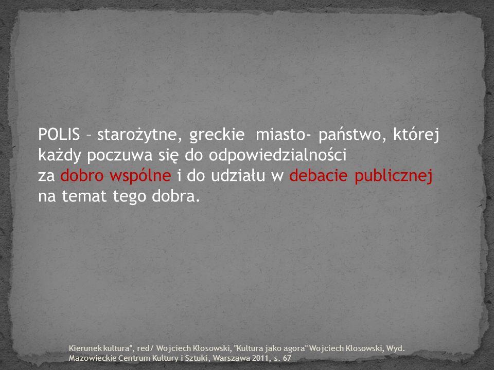 POLIS – starożytne, greckie miasto- państwo, której każdy poczuwa się do odpowiedzialności za dobro wspólne i do udziału w debacie publicznej na temat