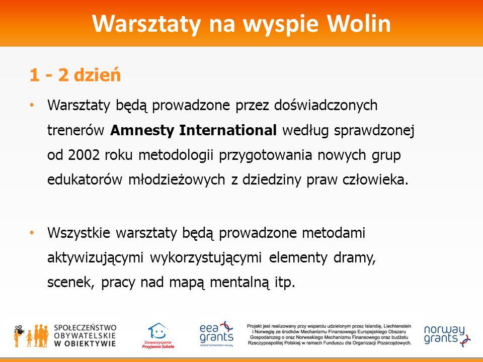 Warsztaty na wyspie Wolin 1 - 2 dzień Warsztaty będą prowadzone przez doświadczonych trenerów Amnesty International według sprawdzonej od 2002 roku metodologii przygotowania nowych grup edukatorów młodzieżowych z dziedziny praw człowieka.