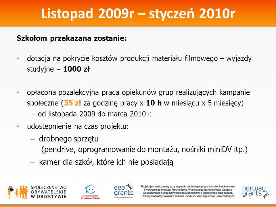 Listopad 2009r – styczeń 2010r Szkołom przekazana zostanie: dotacja na pokrycie kosztów produkcji materiału filmowego – wyjazdy studyjne – 1000 zł opł