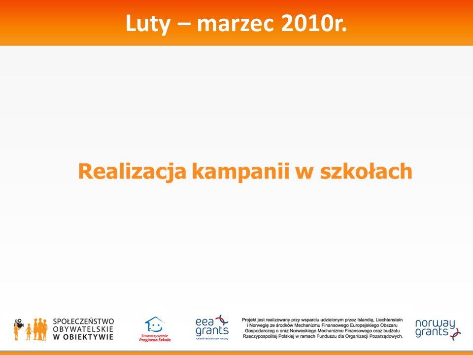 Luty – marzec 2010r. Realizacja kampanii w szkołach
