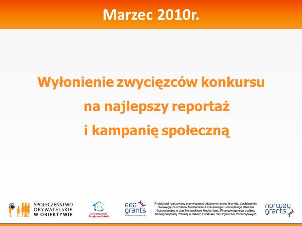 Marzec 2010r. Wyłonienie zwycięzców konkursu na najlepszy reportaż i kampanię społeczną