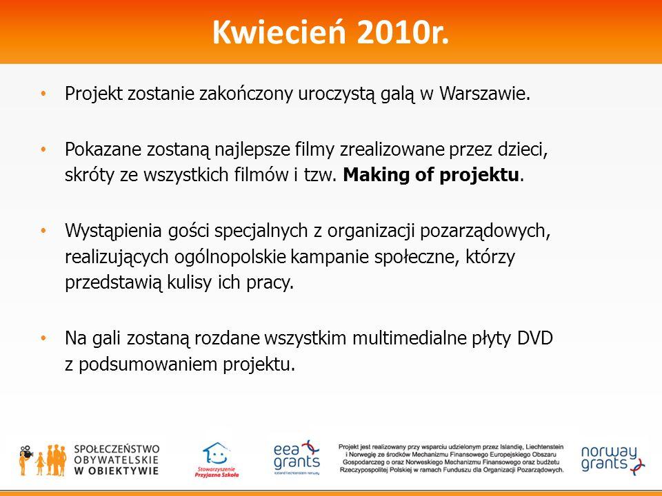 Kwiecień 2010r. Projekt zostanie zakończony uroczystą galą w Warszawie. Pokazane zostaną najlepsze filmy zrealizowane przez dzieci, skróty ze wszystki
