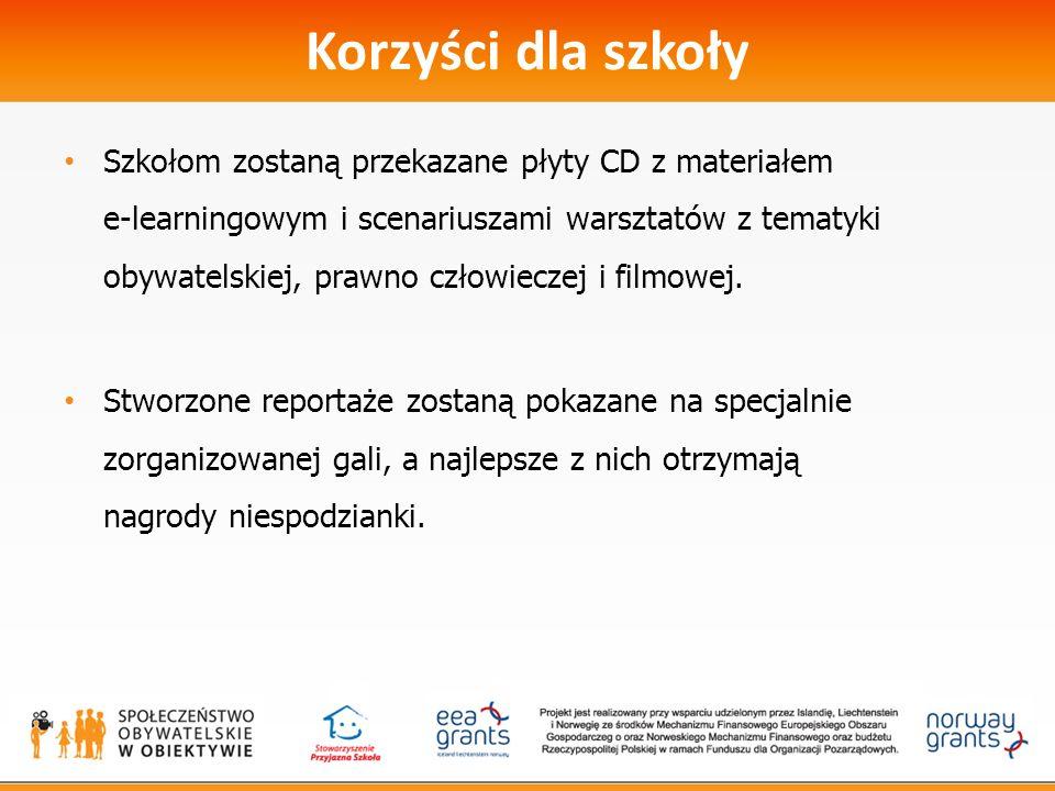 Korzyści dla szkoły Szkołom zostaną przekazane płyty CD z materiałem e-learningowym i scenariuszami warsztatów z tematyki obywatelskiej, prawno człowieczej i filmowej.