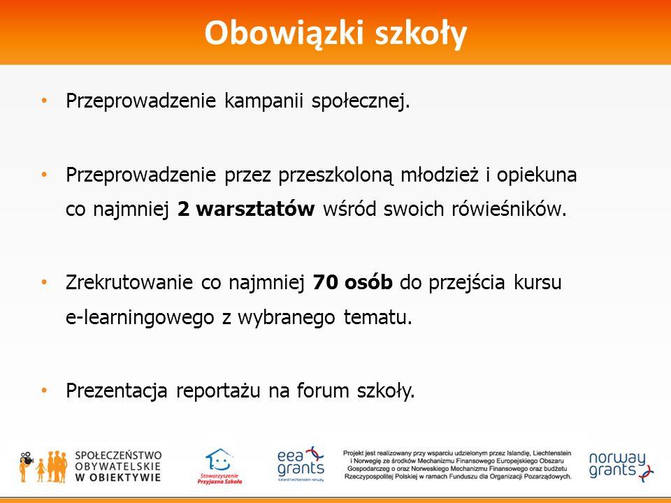 Obowiązki szkoły Przeprowadzenie kampanii społecznej.