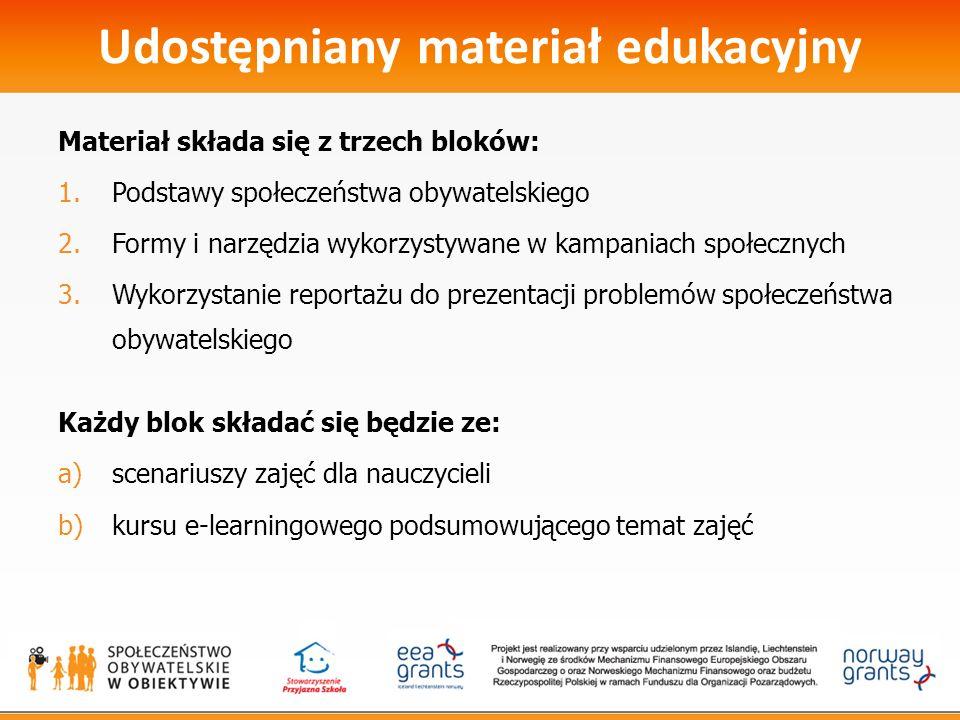 Udostępniany materiał edukacyjny Materiał składa się z trzech bloków: 1.Podstawy społeczeństwa obywatelskiego 2.Formy i narzędzia wykorzystywane w kampaniach społecznych 3.Wykorzystanie reportażu do prezentacji problemów społeczeństwa obywatelskiego Każdy blok składać się będzie ze: a)scenariuszy zajęć dla nauczycieli b)kursu e-learningowego podsumowującego temat zajęć