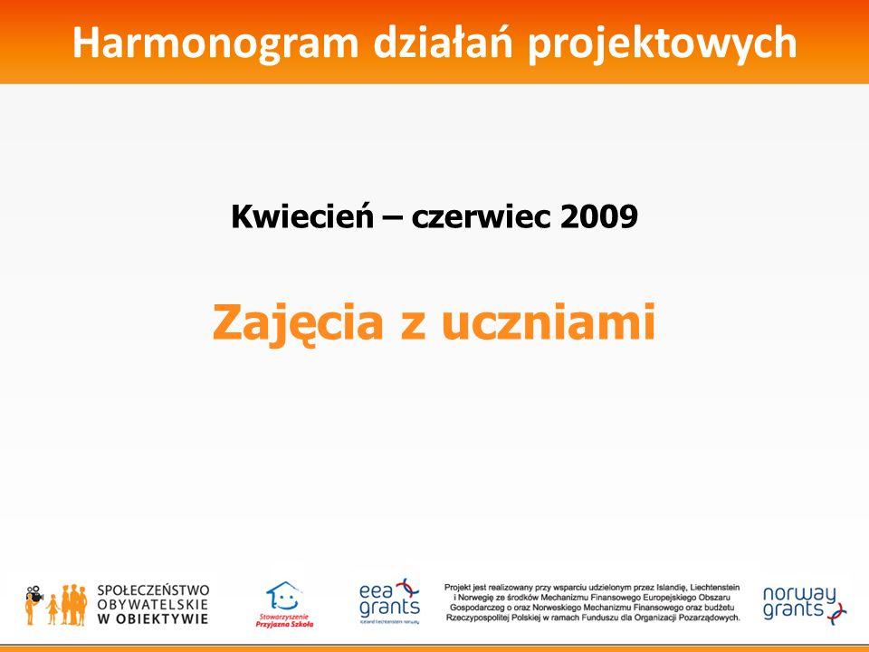 Harmonogram działań projektowych Kwiecień – czerwiec 2009 Zajęcia z uczniami