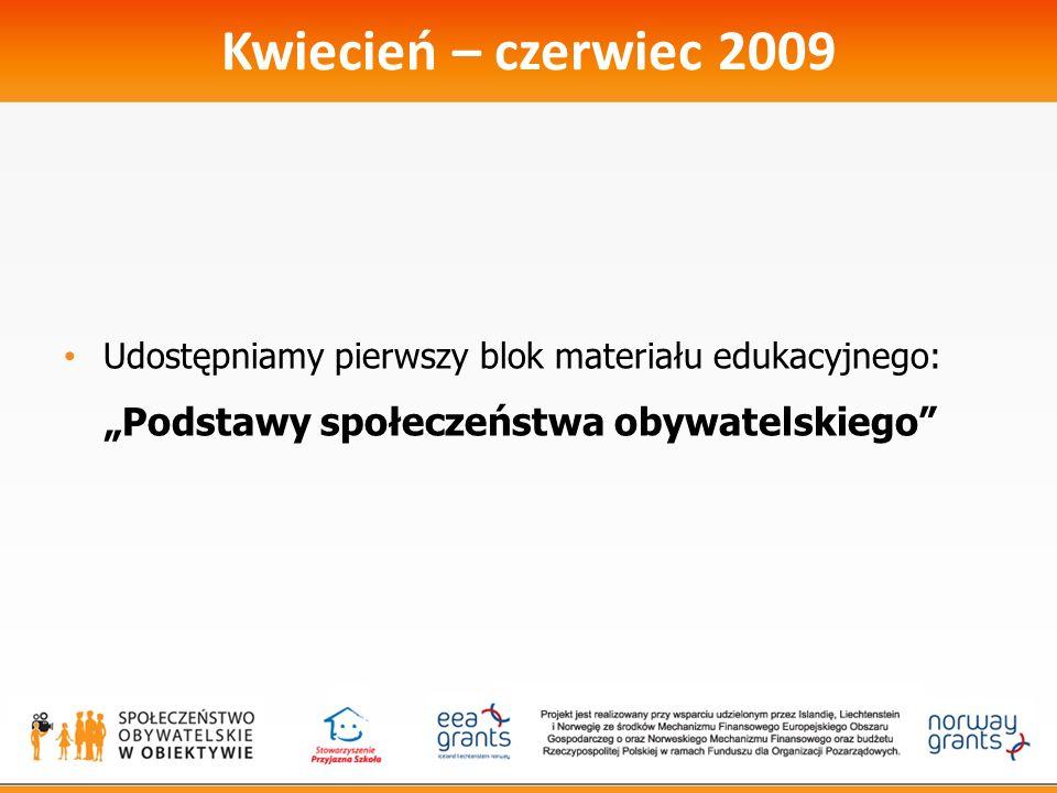 Kwiecień – czerwiec 2009 Udostępniamy pierwszy blok materiału edukacyjnego: Podstawy społeczeństwa obywatelskiego