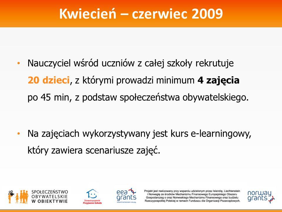 Kwiecień – czerwiec 2009 Nauczyciel wśród uczniów z całej szkoły rekrutuje 20 dzieci, z którymi prowadzi minimum 4 zajęcia po 45 min, z podstaw społeczeństwa obywatelskiego.