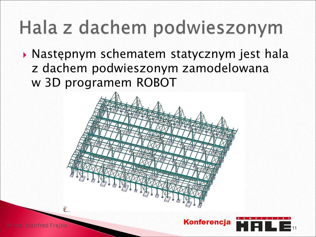 Następnym schematem statycznym jest hala z dachem podwieszonym zamodelowana w 3D programem ROBOT 11 Konferencja