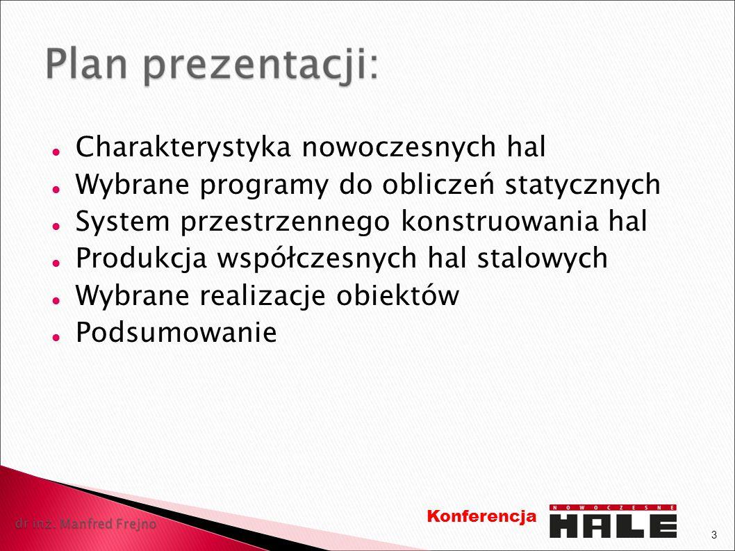 Charakterystyka nowoczesnych hal Wybrane programy do obliczeń statycznych System przestrzennego konstruowania hal Produkcja współczesnych hal stalowyc